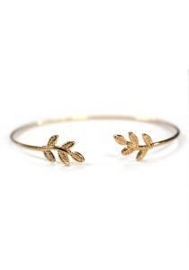 Arche Greek Laurel Wreath Crown Korean Fashion Cuff Bangle (Gold)