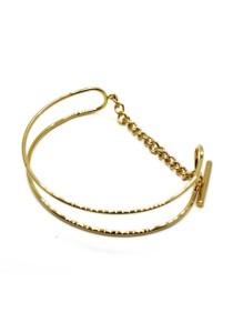 Arche Simplistic Duo Layered Wire Hook Korean Fashion Bangle (Gold)