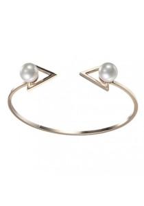 Arche Dazzling Pearl Korean Fashion Arrow Cuff Bangle (Gold)