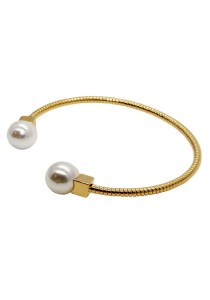 Arche Gorgeous Double Pearl Ball Korean Fashion Cuff Bangle (Silver)