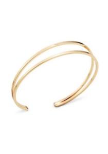 Arche Dual Orbit Layer Cuff Casual Style Cuff Bangle (Gold)