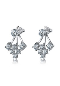 Arche Shining Valentine Hanging Stud Front & Back Earrings (White)