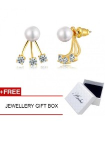 Arche Glamourous Pearl Gold Hanging Stud Front & Back Girl Earrings (Gold)