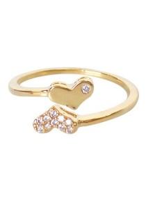 Arche Enchanting Heart Rhinestone Adjustable Ring (Gold)