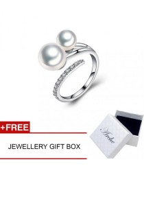 Arche Lavish Dual Pearl Adjustable Ring (Silver)