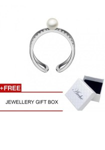 Arche Alluring Pearl Layer Adjustable Ring (Silver)