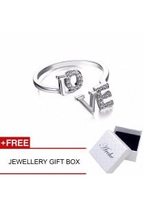 Arche Mesmerising Love Open Adjustable Ring (Silver)