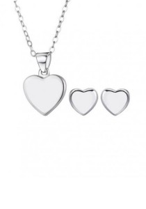 Arche Heart Stud Stainless Steel Necklace & Earrings Set