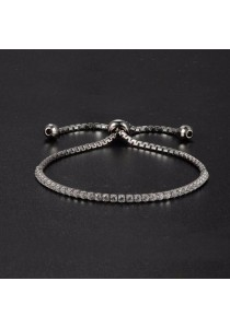 Arche Square Zirconia Dangling Adjustable Bracelet Modern Design Jewellery (Silver)