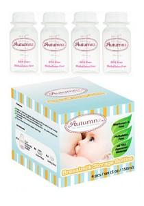 4 Bottles Autumnz Breastmilk Storage Bottles White sb1004