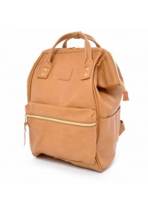 100% Authentic Anello - PU Leather Backpack Mini Size (Camel Beige)
