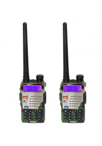 Baofeng UV-5RE 5W 128CH VHF/UHF Dual Band Portable Two Way Walkie Talkie - 1 Set 2 Pcs (Green)