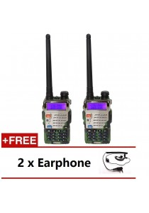 Baofeng UV-5RE 5W 128CH VHF/UHF Dual Band Portable Two Way Walkie Talkie - 1 Set 2 Pcs (Green) + 2 Pcs Earphone