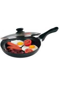Bauer Marble 28cm Non Stick Pan & Lid Marble Grey