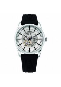 Cerruti 1881 CTCRA113SN04BK Black Rubber Strap Silver White & Transparent Plastic Dial Men Watch