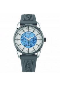 Cerruti 1881 CTCRA113STU04GY Cool Grey Rubber Strap Silver White & Blue & Transparent Plastic Dial Men Watch