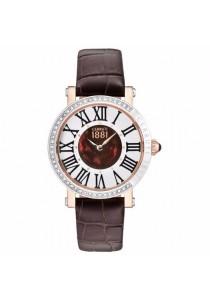 Cerruti 1881 CTCRM139STR40BR Angera Dark Brown Leather Strap Silver & Brown MOP Dial Ladies Watch