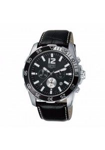 ESPRIT Athlelic Black ES102511001 Black Leather Strap Black Dial Chronograph Men Watch