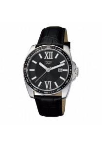 ESPRIT Meridian Black ES103601002 Black Leather Strap Black Dial Men Watch