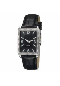 ESPRIT Clarity Black ES103992001 Black Leather Strap Square Black Dial Ladies Watch