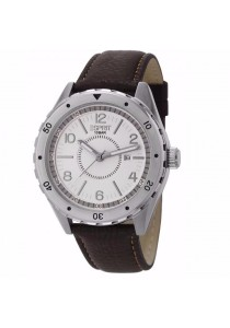 ESPRIT Alamo Brown ES105541002 Black Leather Strap White Dial Men Watch