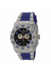 Invicta Reserve Blue Rubber Strap Stainless Steel Case Chronograph Men Watch
