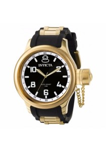 Invicta Russian Diver Black PU & Gold Stainless Steel Strap Men Watch