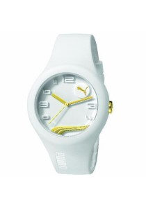 PUMA PU103001013 Form White Gold Silicone Strap Ladies Watch