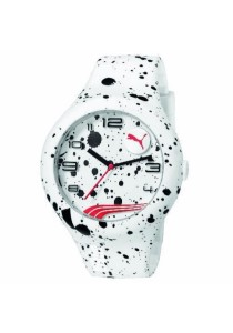 PUMA PU103211020 Form XL White Splash Silicone Strap Men Watch