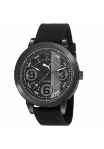 PUMA PU103361010 369 100% Black Rubber Strap Men Watch