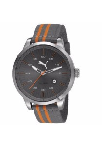 PUMA PU103641004 Cool Grey Orange Nylon Strap Men Watch