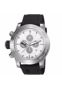PUMA PU103791003 Impulse Silver Black PU Strap White Dial Chronograph Men Watch