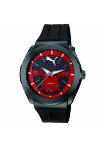 PUMA PU103931002 Roadster Black Red PU Strap Men Watch