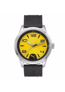 PUMA PU104041001 Rush Silver Yellow With Black PU Strap Men Watch