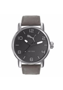 PUMA PU104141005 Alternative Round Grey Leather Strap Men Watch
