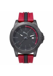 PUMA PU911251003 Chaser Black Red Silicone Strap Men Watch