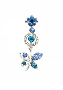 Traditional Rhinestone Jurai Brooch - Blue