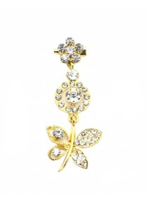 Traditional Rhinestone Jurai Brooch - Gold
