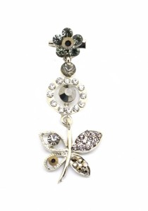 Traditional Rhinestone Jurai Brooch - Grey