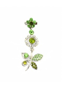 Traditional Rhinestone Jurai Brooch - Green