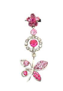 Traditional Rhinestone Jurai Brooch - Pink