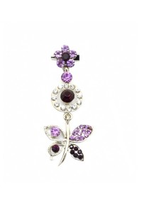 Traditional Rhinestone Jurai Brooch - Purple