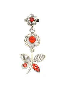 Traditional Rhinestone Jurai Brooch - Red