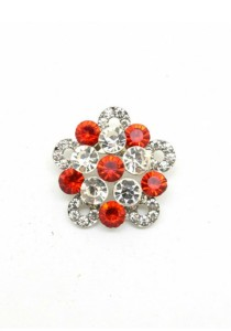 Traditional Rhinestone Brooch - Red