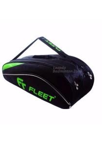 Fleet 2 Zips + Side + Shoe Compartment FT 306 Silver Green Badminton Bag