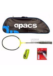 Apacs Ferocious Lite Yellow Free (Apacs 1102 Blue Bag + Apacs Elite Gut + Tattoo Grip) Badminton Racket Package