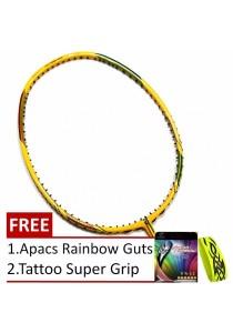 Apacs Stern 878 Yellow Lime Badminton Racket + Free Apacs RainBow Guts + Tattoo Super Grip