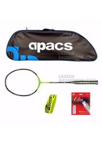 Apacs Ferocious Lite Green Free (Apacs 1102 Blue Bag + Apacs Elite Gut + Tattoo Grip) Badminton Racket Package