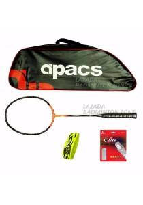 Apacs Ferocious Lite Orange Free (Apacs 1102 Red Bag + Apacs Elite Gut + Tattoo Grip) Badminton Racket Package