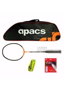 Apacs Ferocious Lite Orange Free (Apacs 1102 Orange Bag + Apacs Elite Gut + Tattoo Grip) Badminton Racket Package